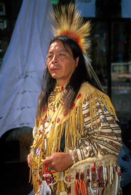 Cherokee man dressed in traditional pow wow regalia, Cherokee NC
