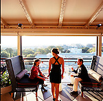 The POV Terrace bar at the W Hotel in Washington D.C. , adjacent to the Treasury Building, features spectacular views of the White house and the Washington Monument.
