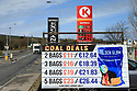 Date 15/03/2019 - SPECIAL TO GO WITH OWEN BOWCOTT STORY - Border Brexit  A sign displays the price of housewhole coal in both GB Sterling and Euro at a Petrol Station in west Tyrone border town of Strabane. Irish Fuel is currently cheaper in Northern Ireland, where locals from County Donegall travel across to buy. Photo/Paul McErlane