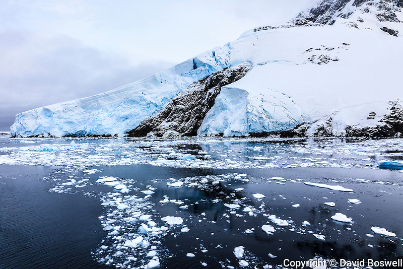 Cliffs, glaciers, and snow line the shoreline in the Lemaire Channel, between the Antarctic Peninsula and Pleneau Island.