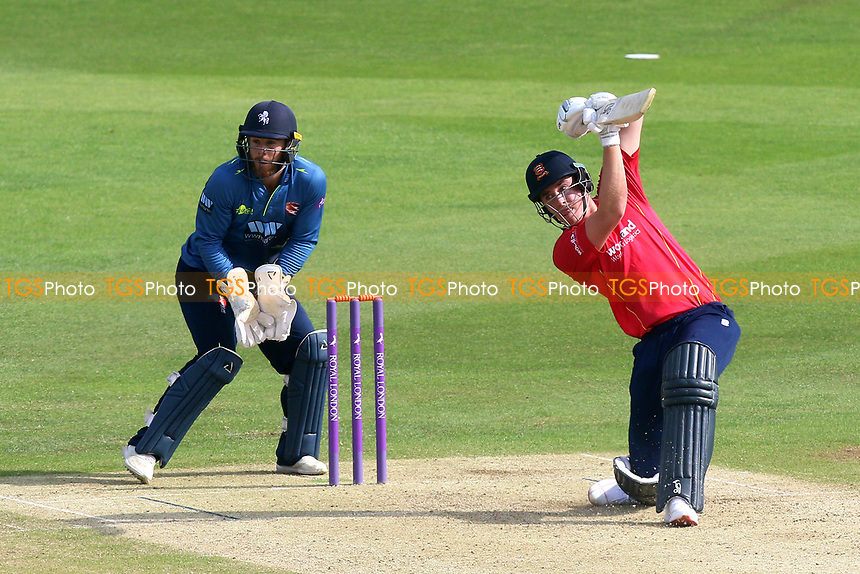 Daniel Lawrence hits out for Essex as Adam Rouse looks on from behind the stumps during Kent Spitfires vs Essex Eagles, Royal London One-Day Cup Cricket at the St Lawrence Ground on 17th May 2017