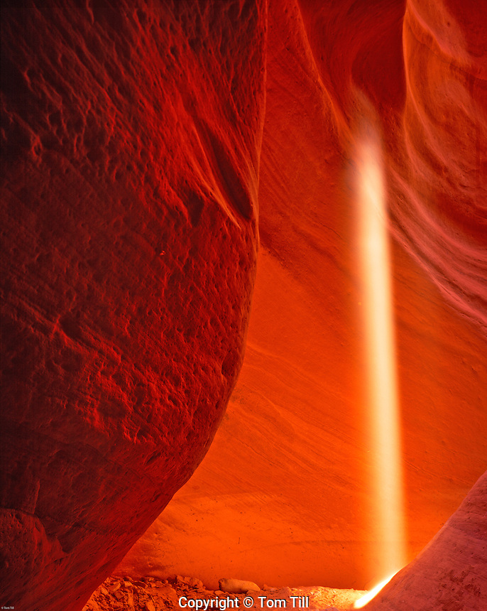 Light Ray in Slot Canyon, Swirled Sandstone Erosion from Flashfloods, Proposed Kanab Creek Wilderness, Utah