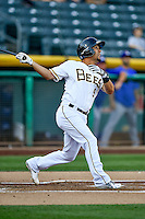 Rafael Ortega (9) of the Salt Lake Bees at bat against the Round Rock Express in Pacific Coast League action at Smith's Ballpark on August 13, 2016 in Salt Lake City, Utah. Round Rock defeated Salt Lake 7-3.  (Stephen Smith/Four Seam Images)