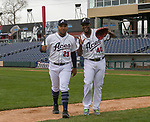Yasmany Tomas (23) and Ruddy De La Rosa (40) ham it up during the Reno Aces 2019 Media Day at Greater Nevada Field in downtown Reno, Nevada on Monday, April 1, 2019.