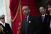 Reverend Al Sharpton arrives for the presidential inauguration on the West Front of the U.S. Capitol January 21, 2013 in Washington, DC.   Barack Obama was re-elected for a second term as President of the United States.  .Credit: Win McNamee / Pool via CNP