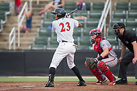 Joel Booker (23) of the Kannapolis Intimidators at bat against the Hagerstown Suns at Kannapolis Intimidators Stadium on June 14, 2017 in Kannapolis, North Carolina.  The Intimidators defeated the Suns 10-1 in game two of a double-header.  (Brian Westerholt/Four Seam Images)