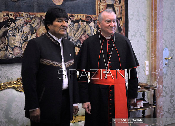 Cardinal Pietro Parolin receives the President of Bolivia, Juan Evo Morales Ayma at the Apostolic Palace on December 15, 2017 at the Vatican.