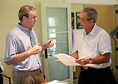 Counselor Dan Bartlett pre-briefs United States President George W. Bush prior to a press availability with the Secretary of Defense, Defense Policy and Program Teams and the Secretary of State and Foreign policy Team at the President's Prairie Chapel Ranch in Crawford, Texas, August 11, 2005. <br /> Mandatory Credit: Eric Draper / White House via CNP