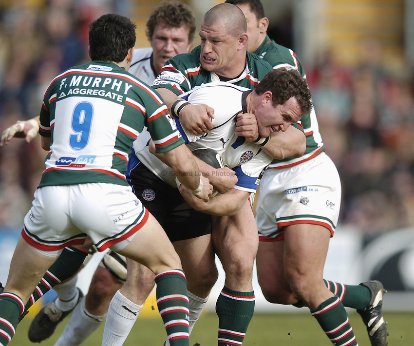 Photo: Jonathan Butler..Leicester Tigers v Bath Rugby. Guinness Premiership. 17/03/2007..Chris Malone of Bath is tackled by Alex Moreno and Frank Murphy of Leicester.