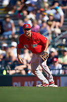 Boston Red Sox first baseman Sam Travis (74) during a Spring Training game against the Pittsburgh Pirates on March 9, 2016 at McKechnie Field in Bradenton, Florida.  Boston defeated Pittsburgh 6-2.  (Mike Janes/Four Seam Images)