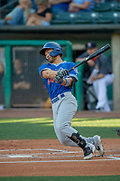 Connor Joe (34) of the Oklahoma City Dodgers at bat against the Salt Lake Bees at Smith's Ballpark on August 1, 2019 in Salt Lake City, Utah. The Bees defeated the Dodgers 14-4. (Stephen Smith/Four Seam Images)