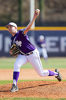 High Point Panthers starting pitcher Mike Krumm (20) in action against the Coastal Carolina Chanticleers at Willard Stadium on March 15, 2014 in High Point, North Carolina.  The Chanticleers defeated the Panthers 1-0 in game one of a double-header.  (Brian Westerholt/Four Seam Images)