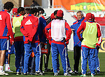 19 November 2010: Head coach Schellas Hyndman talks to his team. FC Dallas held a practice at Toronto, Ontario, Canada as part of their preparations for MLS Cup 2010, Major League Soccer's championship game.
