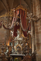 Baroque tomb of St. Nepomuk wrought entirely in silver