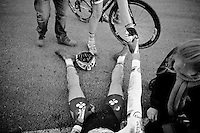 runner-up Michael Vanthourenhout (BEL/Sunweb-Napoleon Games) reaching out to congratulate a collapsed Wout Van Aert (BEL/Vastgoedservice-Golden Palace)<br /> <br /> Superprestige Francorchamps 2014