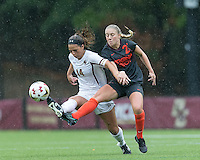Newton, Massachusetts - October 9, 2016: NCAA Division I. In double overtime, Virginia Tech (black) defeated Boston College (white), 3-2, at Newton Campus Soccer Field.