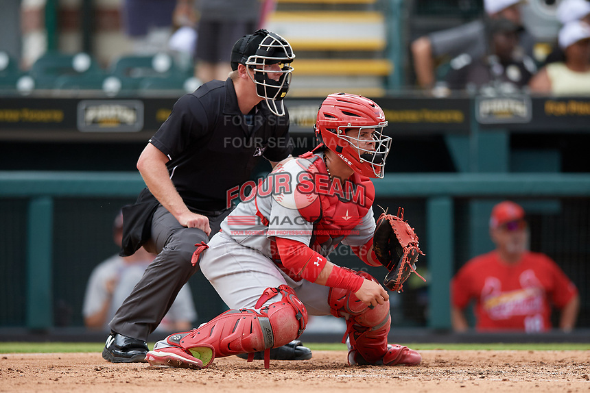 Palm Beach Cardinals catcher Julio Rodriguez (34) and umpire Louie Krupa await the pitch during a Florida State League game against the Bradenton Marauders on May 10, 2019 at LECOM Park in Bradenton, Florida.  Bradenton defeated Palm Beach 5-1.  (Mike Janes/Four Seam Images)