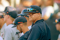 Cal State Fullerton Titans pitching coach Steve Rousey during the game against the University of Washington Huskies at Goodwin Field on June 09, 2018 in Fullerton, California. The Cal State Fullerton Titans defeated the University of Washington Huskies 5-2. (Donn Parris/Four Seam Images)