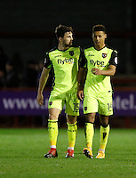 Goal scorers Ollie Watkins and Jordan Moore-Taylor of Exeter City FC seen at the final whistle during the Sky Bet League 2 match between Crawley Town and Exeter City at Broadfield Stadium, Crawley, England on 28 February 2017. Photo by Carlton Myrie / PRiME Media Images.
