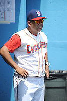 Brooklyn Cyclones coach Edgardo Alfonzo (4) during game 1 of a double header against the Hudson Valley Renegades at MCU Park on July 8, 2014 in Brooklyn, NY.  Brooklyn defeated Hudson Valley 3-0.  (Tomasso DeRosa/Four Seam Images)