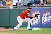 Buffalo Bisons first baseman Rowdy Tellez (34) during a game against the Lehigh Valley IronPigs on June 23, 2018 at Coca-Cola Field in Buffalo, New York.  Lehigh Valley defeated Buffalo 4-1.  (Mike Janes/Four Seam Images)