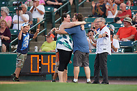 A marriage proposal during a game between the Rochester Red Wings and the Lehigh Valley IronPigs on June 30, 2018 at Frontier Field in Rochester, New York.  Lehigh Valley defeated Rochester 6-2.  (Mike Janes/Four Seam Images)