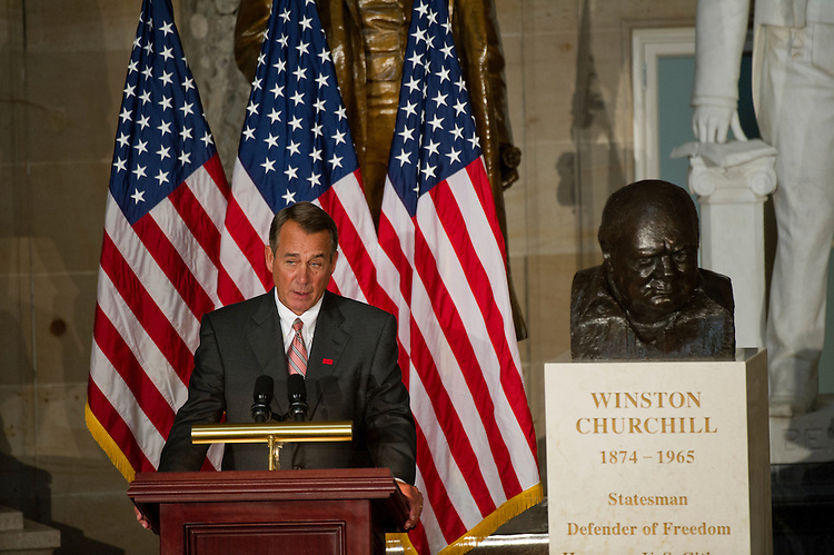 UNITED STATES - Oct 30: The U.S. Congress holds a ceremony to dedicate a bust of the late Prime Minister of the United Kingdom Winston Churchill, who became an honorary U.S. citizen in 1963. Speaker of the House John Boehner, R-OH.,  addresses the crowd on October 30, 2013. (Photo By Douglas Graham/CQ Roll Call)