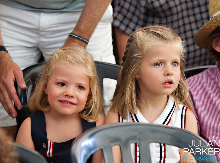 Crown Prince Felipe  and Crown Princess Letizia of Spain with their daughters, Princess Leonor, and  Princess Sofia attend a concert, at The Royal Yacht Club, in Palma, Mallorca on the third day of the Copa Del Rey sailing regatta..Princess Sofia, and Prince Leonor