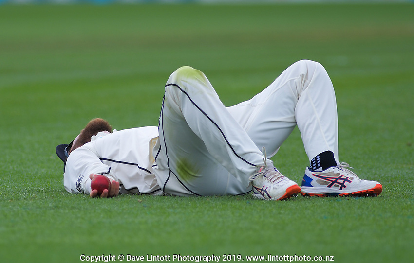 NZ captain Kane Williamson reflects on failing to catch England captain Joe Root during day four of the international cricket 2nd test match between NZ Black Caps and England at Seddon Park in Hamilton, New Zealand on Friday, 22 November 2019. Photo: Dave Lintott / lintottphoto.co.nz