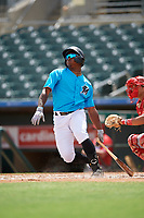 Miami Marlins Osiris Johnson (56) at bat during an Instructional League game against the Washington Nationals on September 25, 2019 at Roger Dean Chevrolet Stadium in Jupiter, Florida.  (Mike Janes/Four Seam Images)