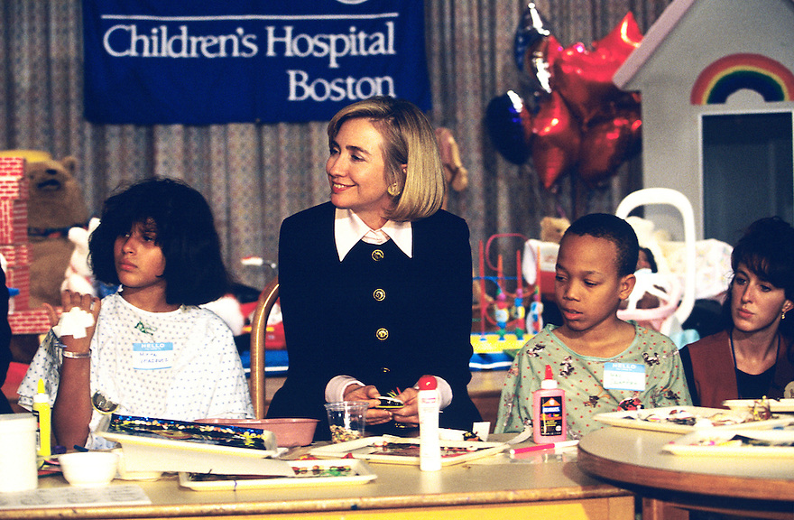 First Lady Hillary Clinton attends an event in support of health care reform at Children's Hospital in Boston.