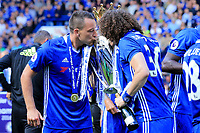 Chelsea defender John Terry (26) and Chelsea defender David Luiz (30) kiss the Premier League trophy during the Premier League match between Chelsea and Sunderland at Stamford Bridge on May 21st 2017 in London, England. <br /> Festeggiamenti Chelsea vittoria Premier League <br /> Foto Leila Cocker/PhcImages/Panoramic/Insidefoto