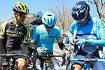 Fellow countrymen Esteban Chaves Mitchelton-Scott, Miguel Angel Lopez Astana and Nairo Quintana (COL) Movistar Team check out the stage profile before the start of Stage 4 of the Volta Ciclista a Catalunya 2019 running 150.3km from Llanars (Vall De Camprodon) to La Molina (Alp), Spain. 28th March 2019.<br /> Picture: Colin Flockton | Cyclefile<br /> <br /> <br /> All photos usage must carry mandatory copyright credit (© Cyclefile | Colin Flockton)