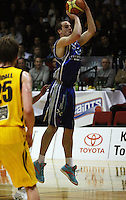 Saints forward Hugh Quinlivan attempts a three-pointer during the NBL Round 9 match between the Wellington Saints and Nelson Giants at TSB Bank Arena, Wellington, New Zealand on Thursday 7 May 2009. Photo: Dave Lintott / lintottphoto.co.nz
