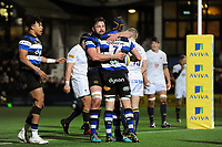 Paul Grant of Bath Rugby celebrates his try with team-mate Elliott Stooke. Aviva Premiership match, between Worcester Warriors and Bath Rugby on January 5, 2018 at Sixways Stadium in Worcester, England. Photo by: Patrick Khachfe / Onside Images