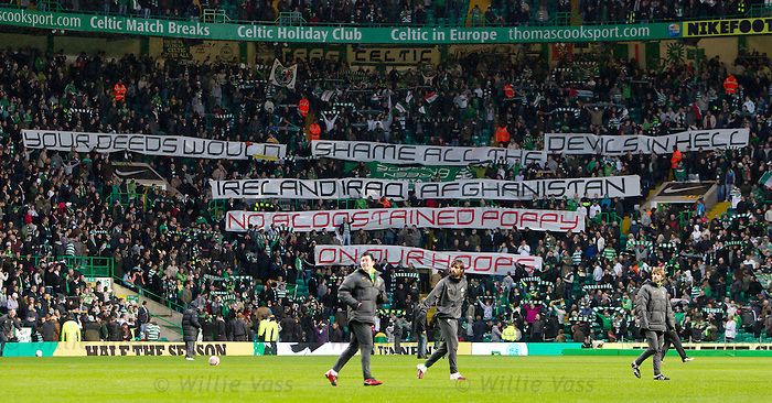 Celtic fans anti-poppy banner at half time