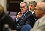 Nevada Assemblyman Glenn Trowbridge, R-Las Vegas, listens to testimony in opposition to his proposal to make changes to the PERS system during a hearing at the Legislative Building in Carson City, Nev., on Monday, March 30, 2015. <br /> Photo by Cathleen Allison