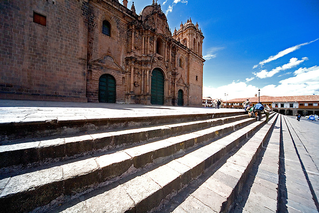 CUZCO PERU'S LA CATHEDRAL IN THE PLAZA DE ARMAS TOOK 100 YEARS TO BUILD, STARTING IN 1559