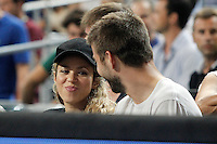 FC Barcelona's Gerard Pique and his wife colombian singer Shakira during 2014 FIBA Basketball World Cup Quarter-Finals match.September 9,2014.(ALTERPHOTOS/Acero)