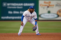 Dunedin Blue Jays third baseman Vladimir Guerrero Jr. (27) during a Florida State League game against the Clearwater Threshers on April 4, 2019 at Spectrum Field in Clearwater, Florida.  Dunedin defeated Clearwater 11-1.  (Mike Janes/Four Seam Images)