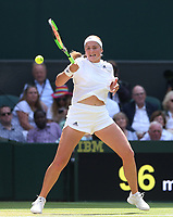 Jelena Ostapenko (LAT) during her match against Angelique Kerber (GER) in their Ladies' Semi-Final match<br /> <br /> Photographer Rob Newell/CameraSport<br /> <br /> Wimbledon Lawn Tennis Championships - Day 10 - Thursday 12th July 2018 -  All England Lawn Tennis and Croquet Club - Wimbledon - London - England<br /> <br /> World Copyright &copy; 2017 CameraSport. All rights reserved. 43 Linden Ave. Countesthorpe. Leicester. England. LE8 5PG - Tel: +44 (0) 116 277 4147 - admin@camerasport.com - www.camerasport.com