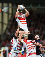 Luke Thompson of Japan wins the ball at a lineout. Rugby World Cup Pool B match between Scotland and Japan on September 23, 2015 at Kingsholm Stadium in Gloucester, England. Photo by: Patrick Khachfe / Onside Images
