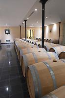 Oak barrel aging and fermentation cellar. Chateau Petit Faurie de Soutard, Saint Emilion, Bordeaux, France