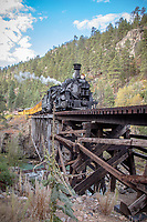 The Durango Silverton Narrow Gauge Raliroad, this a historic authentic steam operated scenic railway. The locomotives are 1923-25 vintage and are maintained in original condition and operate year round between Durango and Silverton Colorado