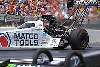 May 22, 2016; Topeka, KS, USA; NHRA top fuel driver Antron Brown during the Kansas Nationals at Heartland Park Topeka. Mandatory Credit: Mark J. Rebilas-USA TODAY Sports