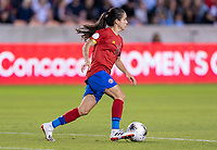 HOUSTON, TX - FEBRUARY 03: Katherine Alvarado #16 of Costa Rica dribbles during a game between Costa Rica and USWNT at BBVA Stadium on February 03, 2020 in Houston, Texas.