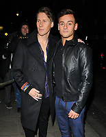Dustin Lance Black and Tom Daley at the LFW (Men's) a/w2018 GQ Dinner, Berners Tavern, The London Edition Hotel, Berners Street, London, England, UK, on Monday 08 January 2018.<br /> CAP/CAN<br /> &copy;CAN/Capital Pictures
