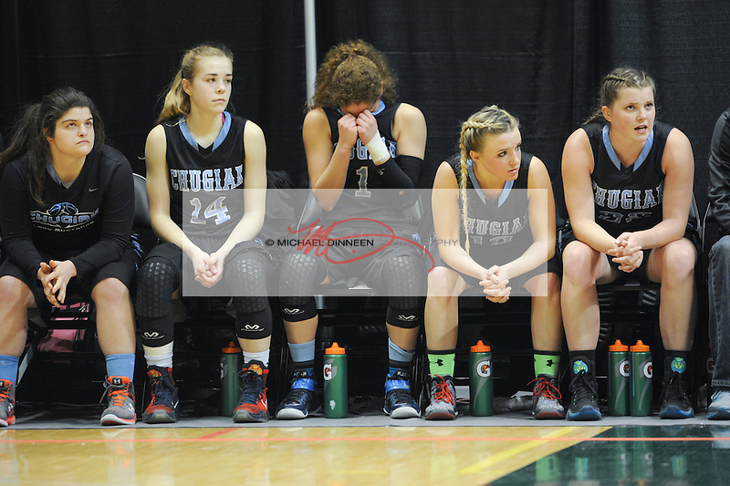 From left, Mustang players Alexis Trombley, Eva Palmer, Kassidy Murfin, Hannah Russell and Courtney Kuhlmann watch the final moments of their season in the Girls 4a state basketball tournament.   Photo for the Star by  Michael Dinneen