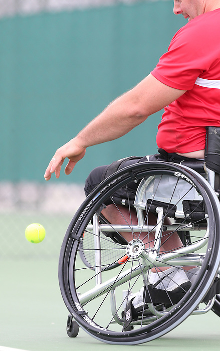 Rio de Janeiro-6/9/2016- Wheelchair tennis player Philippe Bedard practices at the Olympic tennis centre prior to the Paralympic Games in Rio. Photo Scott Grant/Canadian Paralympic Committee