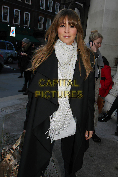 RACHEL STEVENS .Attending the Bodyamr Fashion Show during London Fashion Week, London, England, UK, 19th February 2010.LFW arriving arrivals half length white gold polka dot scarf grey gray black coat  fringe 3/4 waterfall .CAP/MAR.©Martin Harris/Capital Pictures